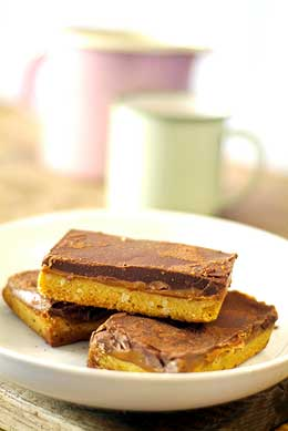 gluten free chocolate and caramel shortbread